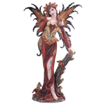 Red and Gold Fall Fairy Statue