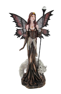 Butterfly Fairy Statue with Glass Orb Staff and White Wolf