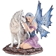 Fairy Sitting with Wolf Statue