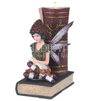 Reading Fairy and Book Candle Holder