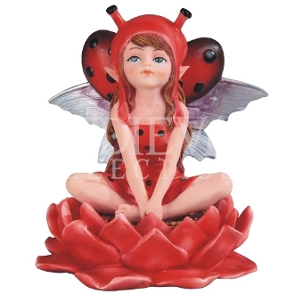 Red Ladybug Fairy on Lily Statue