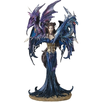 Midnight Fairy with Dragons Statue