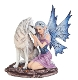 Fairy Sitting with Wolf Figurine