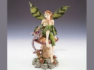 Green Leaf Fairy Seated with Dragon