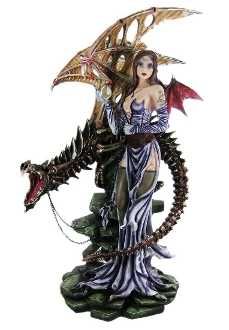 Bat Winged Fairy Statue W/ Skeleton Dragon