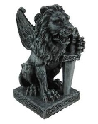 Lion Gargoyle With Sword Statue
