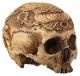 Human Head Skull with Multi Designs Figurine