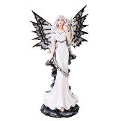 Night Fairy Standing With White Dragon