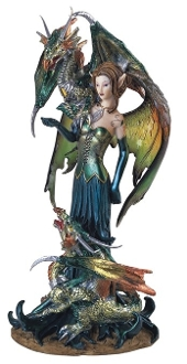 Green Fairy & Dragon Statue