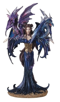 Dark Fairy with Dragons Statue