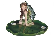 Kneeling Fairy on a Lily Pad Dish